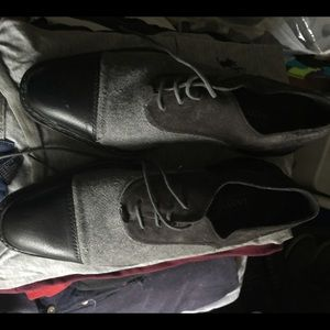 Lanvin Shoes - Lanvin Grey leather suede and felt cap-toe oxfords