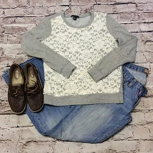 Forever 21 Sweaters - FOREVER 21 LIGHTWEIGHT LACE FRONT SWEAT SHIRT
