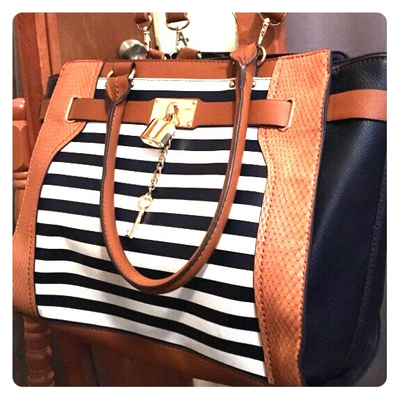 4efe2c67c0 Aldo Bags | New Blue And White Striped Leather Bag | Poshmark