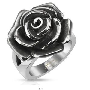 Jewelry - Stainless Steel Single Rose Cast Band Ring