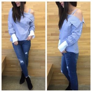 BackInStock! One Shldr Cutout Blue Striped Blouse
