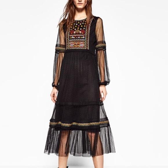 0eea283d Zara Dresses   Embroidered Plumetis Dress Size Medium   Poshmark