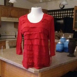 Merona Long Sleeve Red Cotton Ruffle Tunic Tee XL
