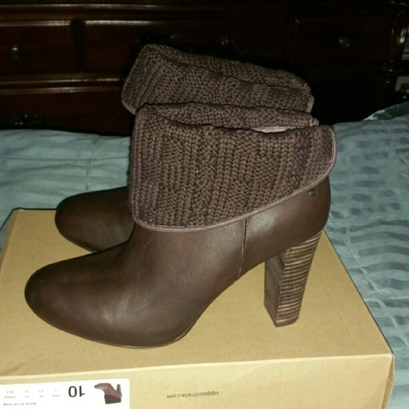 UGG Shoes - UGG Australia Brown Leather Heel Ankle Boots Sz 10