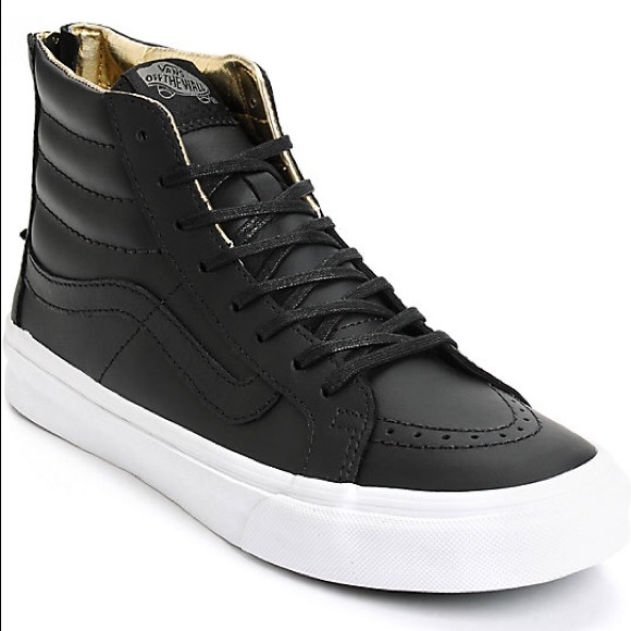 Vans SK-8 HI Black Gold Leather Slim Zips  32de57a043