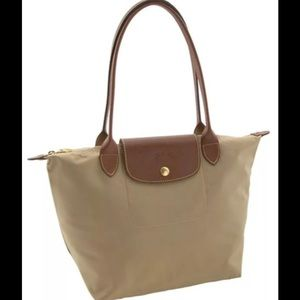 Longchamp Handbags - Longchamp Small Le Pilage Nylon Purse Tote Beige