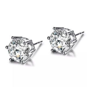 Boutique Jewelry - 6mm Clear Round CZ & White Gold Earrings