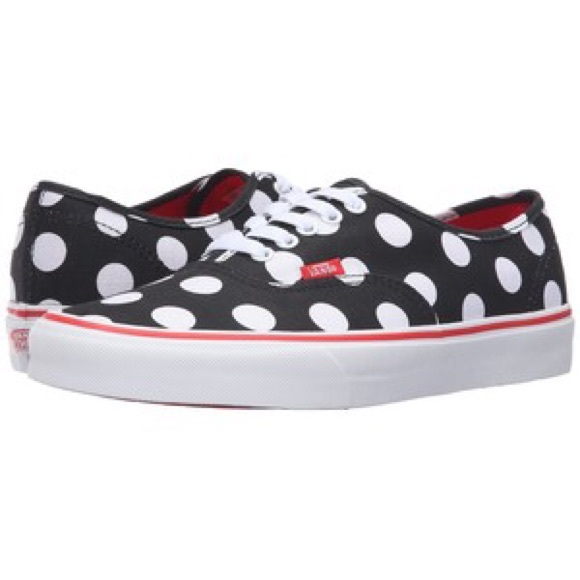 fa0467a768fb Vans Authentic Black Fiery Red Polka Dot Lows