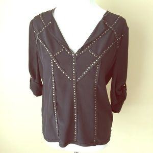 NEW BCBGMaxAzria Black Silk Studded Blouse