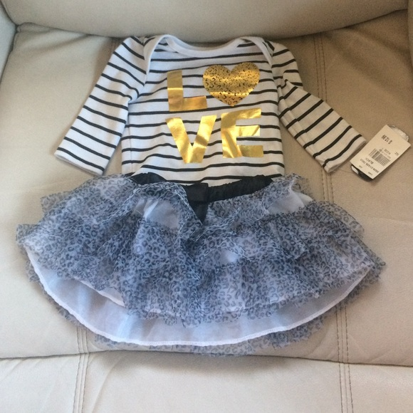 3ced6476dcd baby glam Matching Sets | White And Gold And Black Two Piece Onesie ...