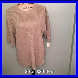 Cherokee Sweaters - Cherokee Plus Size Short Sleeve Sweater Lt Green