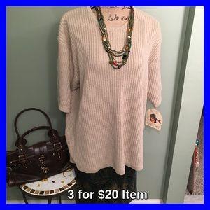 Cherokee Sweaters - Cherokee Plus Size Oatmeal Short Sleeve Sweater