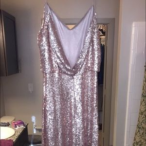 Jenny Yoo Collection gold sequin gown in size 10.