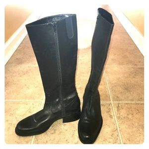 Nine West Black leather knee Boots Size 6.5M