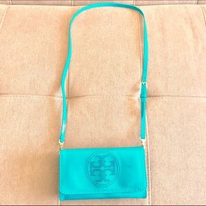 Tory Burch Patent Leather Teal Crossbody Clutch 