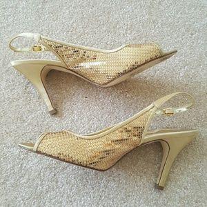 Nina Shoes - Nina gold sequin heel