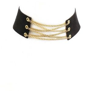 Jewelry - ▫️SALE▫️BLACK STRAP GOLD CHAIN CHOKER