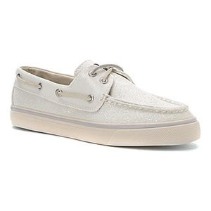 Sperry Top-Sider Shoes - Sperry Bahama White Glitter Top Sider Boat Shoe