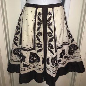 Anthropologie  skirt sz8 brown cream