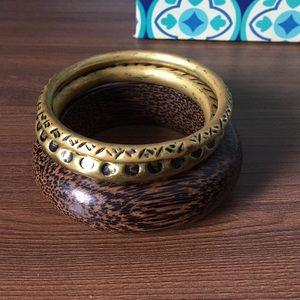 Amrita Singh Jewelry - Wood and gold bangle set