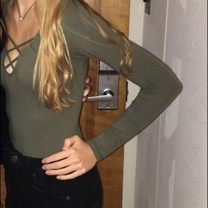 Hollister Other - Olive green criss cross bodysuit