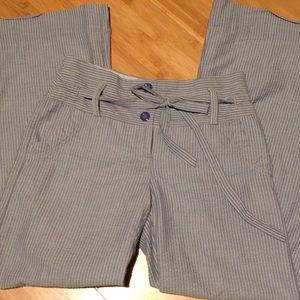 Anthropologie Elevenses Wide Leg Gray Stripe Pants