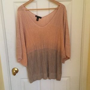 INC Dolman Double V-Neck Sweater Glittery!