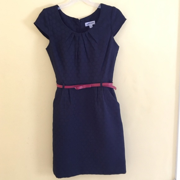 navy blue dress with pockets and belt 6 from moda s