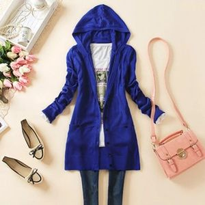 Sweaters - 👗Blue Hooded Cardigan HP 1/30🎉🎉