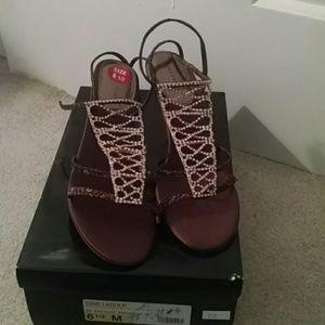 """Valerie Stevens Shoes - New Valerie Stevens """"ladder"""" bronze fabric , bling"""