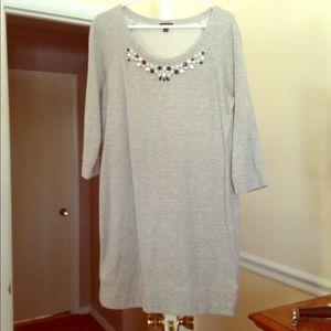 LOFT Jeweled Embellished Sweatshirt Shift Dress