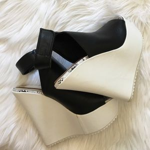 Shoes - White and black platform heels