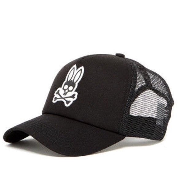 NWT Psycho bunny black curved foam trucker cap hat 6d622276968