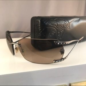 Versace Accessories - Versace Sunglasses Swarovski Crystals Gunmetal