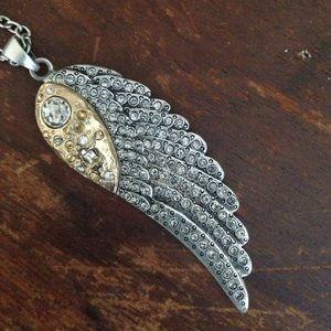 Tat2 Designs Vintage Silver Wing Necklace