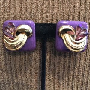 "Purple & Gold Gem Stone Pierced Earrings 1"" x 1""."