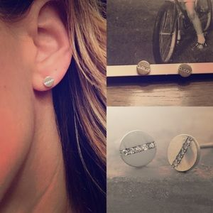 Anthropologie Jewelry - NWT anthropologie pave slice splice stud earrings
