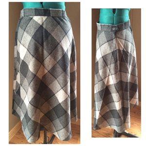 Vintage Wool Blend Tartan Plaid A-Line Skirt Gray