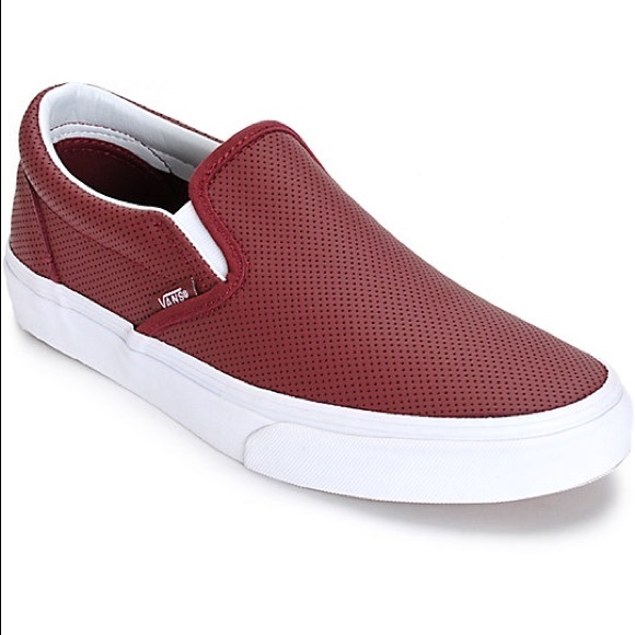 c851c5e86e Vans Classic Slip Ons Burgundy Perforated Leather.  M 58728426b4188e30f101c064