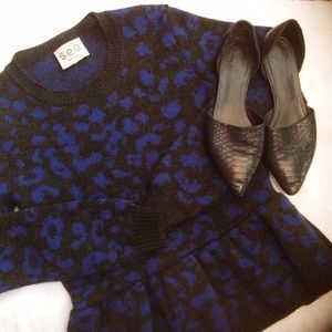 Anthropologie Sea NY Leopard Peplum Sweater