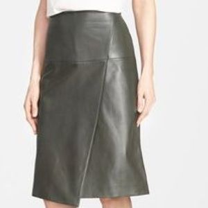 Dark Olive Green Leather Skirt