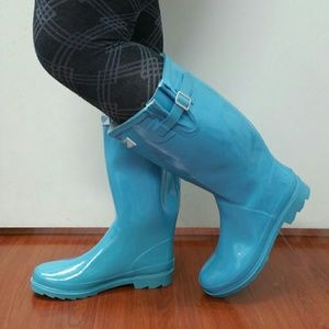 Forever Young  Shoes - Woman Knee high Rain boots, #3106, Turquoise