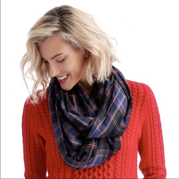 Sole Society Accessories - Sole Society plaid black orange infinity scarf