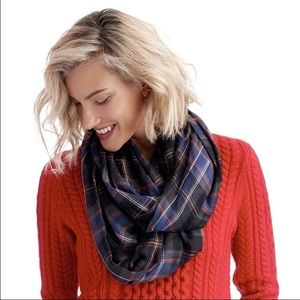 Sole Society plaid black orange infinity scarf