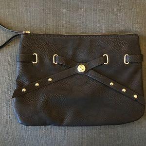 Black oversize wristlet clutch gold embellishment