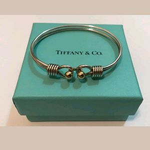 Tiffany & Co silver and gold double hook bangle