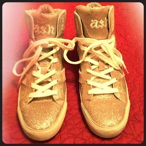Ash Shoes - Ash Gold Glitter Extended Sole High Top Sneakers