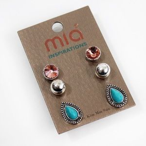 Set of 3 Stud Earrings Pink Turquoise