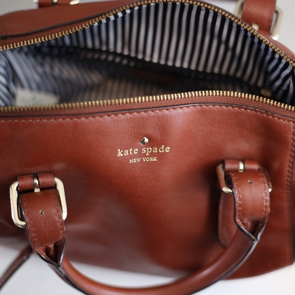 street price best quality new lower prices Kate Spade. Brown Leather Satchel. Striped inside.