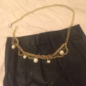 bebe Accessories - Reversible Gold Chain Link Belt by bebe